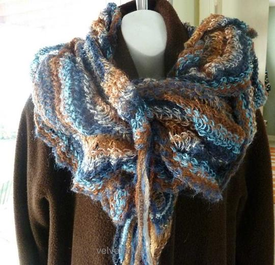 Missoni MISSONI of Italy New Mohair-Blend Long Ruffled Knit Scarf Blue Rust