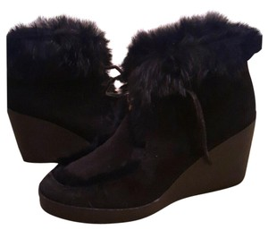 Coach Rabbit Fur Suede Fall Black Boots