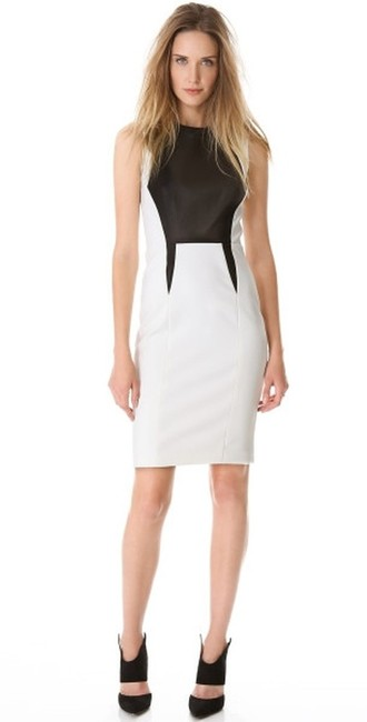 Item - White/Black New Tech Leather Trim (10) Above Knee Work/Office Dress Size 10 (M)