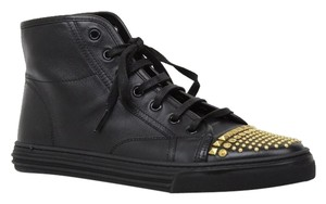 Gucci 354299 Leather Hi-top Sneaker Studded Black Athletic