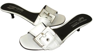 Donald J. Pliner White Buckle Kitten Kitten Heels Mules off white Sandals