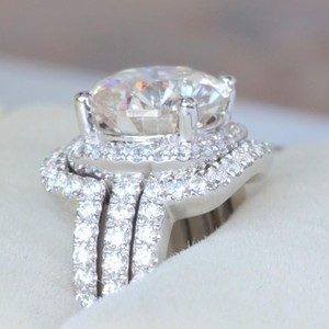 4.5 5 5.5 6 6.5 7 7.5 8 8.5 9 All Sizes In Stock 3 Set Cushion Diamond Ring Wedding Bridal Cushion Cut 4cttw
