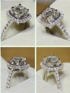Certified Sona Nscd 4.5 5 5.5 6 6.5 7 7.5 8 8.5 9 All Sizes In Stock 3 Cushion Diamond Ring Wedding Bridal Cushion Cut