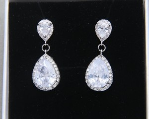 9.2.5 925 Silver Chandelier Oval Fall Drop Silver Clear Crystal Bridesmaid Prom Pageant Earrings