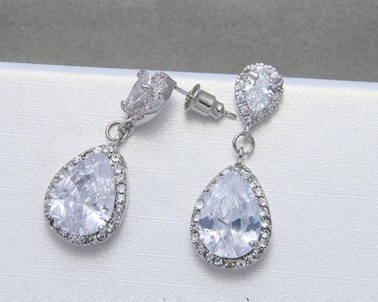 9.2.5 925 Silver Chandelier Oval Fall Drop Silver Clear Crystal Bridesmaid Prom Pageant Earrings Image 1