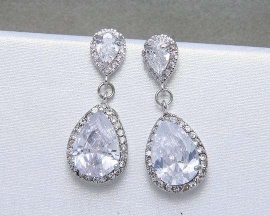 9.2.5 925 Silver Chandelier Oval Fall Drop Silver Clear Crystal Bridesmaid Prom Pageant Earrings Image 2
