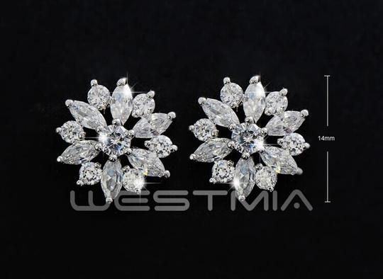 9.2.5 New Dangle Flower Cz Silver New Crystal Stud Earrings Image 1
