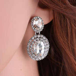 9.2.5 Earring 925 Silver Wedding Bridal Chandelier Oval Fall Drop Silver Clear Crystal Bridesmaid Prom Pageant Jewelry Stud