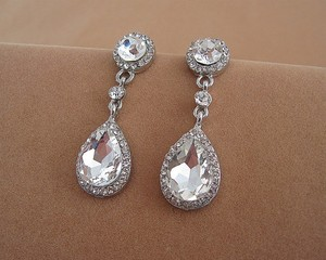 9.2.5 Earring 925 Silver Wedding Bridal Chandelier Oval Fall Drop Silver Clear Crystal Bridesmaid Prom Pageant Jewelry