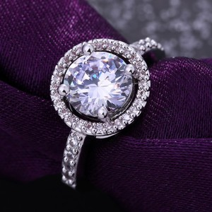 9.2.5 2ct 925 4 5 6 7 8 9 Halo Round Diamond Cz Silver Stering Engagement Ring
