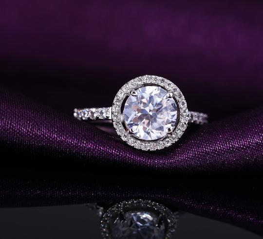 9.2.5 2ct 925 4 5 6 7 8 9 Halo Round Diamond Cz Silver Stering Engagement Ring Image 1