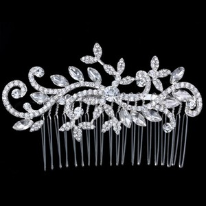 9.2.5 Vtg Vine Leaf Crystal Bridal Wedding Prom Hair Comb Flower Clip