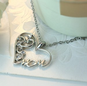 9.2.5 Silver Mom Mother Daughter Jewelry Gift Heart Necklace 16 Chain Shape Letters Cz Diamond Silver