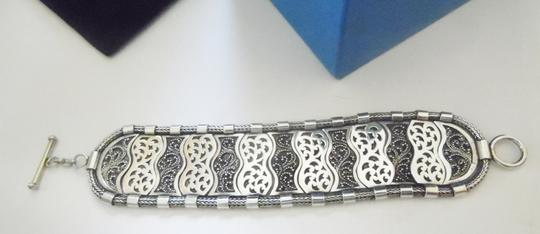 "Other Artisan Hand Crafted Scroll Design Sterling Silver Toggle Bracelet fits 6' to 7"" wrist"