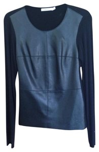 Bailey 44 Faux Leather Jersey Top Black