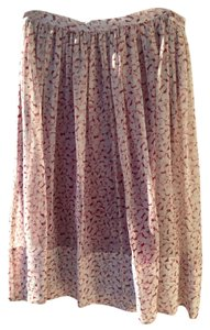 Elizabeth and James Silk Floral Skirt Pale pink