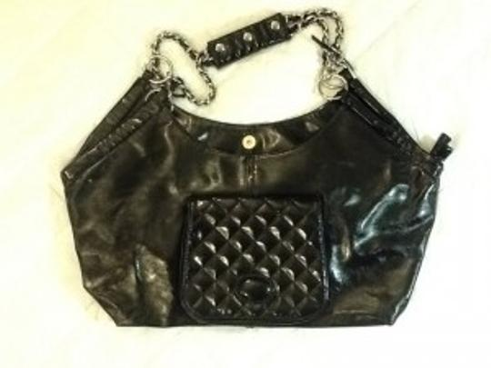 Preload https://item2.tradesy.com/images/soft-faux-leather-w-medal-chain-hangles-black-shoulder-bag-18541-0-0.jpg?width=440&height=440