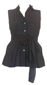 Theory Sleeveless Front Pleated Tied Top Black
