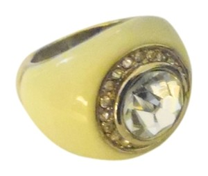 Joan Rivers Joan Rivers Cream Enamel Crystal Ring Size 8