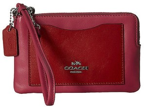Coach Coach 65990 Dahlia Carmine Smooth Leather Corner Zip Wristlet
