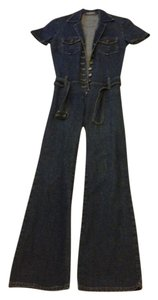 Bisou Bisou Night Out Sexy Bodysuit Cotton Suit Jumpsuit Beach Straight Leg Jeans-Dark Rinse