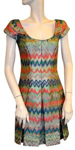 Douglas Hannant short dress Turquoise/Teal/Coral Jacquard Jacquard Tweed on Tradesy