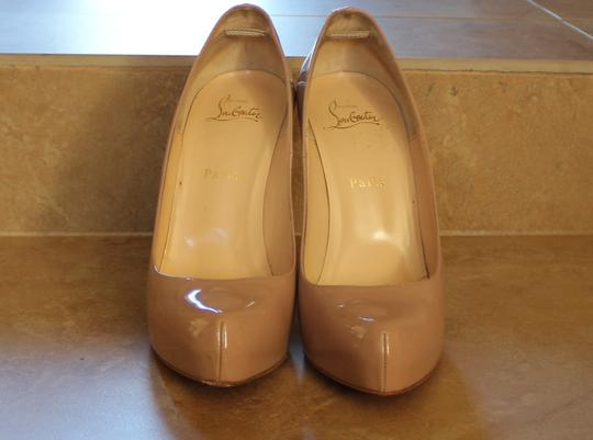 Christian Louboutin Patent Patent Leather Rolando Nude Pumps