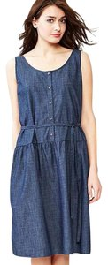 blue Maxi Dress by Gap Chambray Tank Tie