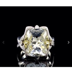 Ann King size 9.25, sterling silver, 18k yellow gold, green amethyst ring