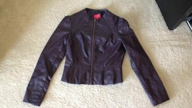 Elle Leather Ruffle Coat purple Jacket
