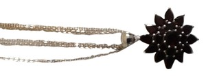 Sterling silver triple strand garnet necklace