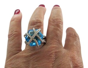 David Yurman Cable Wrap 16mm Blue Topaz Ring with Pave' Diamond Accent; Size 7.5