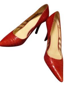 Burberry Croc Embossed Leather Red Pumps