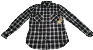 True Religion Button Down Shirt Charcoal/White Plaid