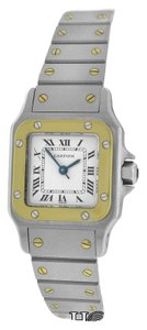 Cartier Authetic Women's Cartier Santos 18K Gold Stainless Steel 24mm