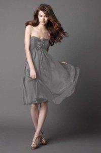 Wtoo Falcon (Grey) Chiffon #883 Formal Bridesmaid/Mob Dress Size 4 (S)