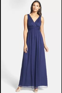 Donna Morgan Midnight Navy Julie Twist Waist Chiffon Gown Bridesmaid/Mob Dress Size 8 (M)