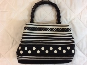 Tiannl Tote in Black & white poka dot