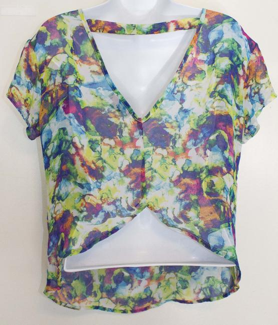 Material Girl (by Madonna) Abstract Colorful Pattern Sheer Macys Nordstrom Cute Chic Trendy Stylish Date Night Affordable Hip Hipster Small Vintage Top