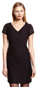 Adrianna Papell Embellished Sleeve V-neck Dress