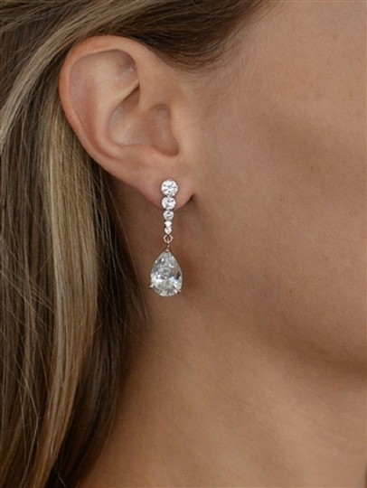Silver Crystal Dangle Event Earrings Image 2