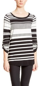 Cupio Elbow Sleeve Variegated Stripe Top Black/White