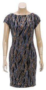 Oday Shakar short dress Black/Gold on Tradesy