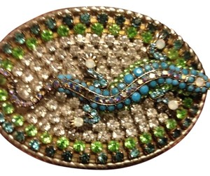 Other Belt buckle 5x4 - lizard belt buckle - gorgeous turquoise, peridot, Pearl, and other varying crystals.