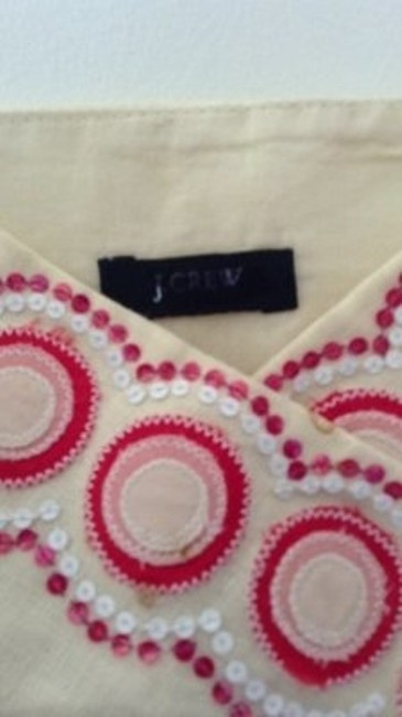 J.Crew Cute Sequined Embellised Linen Top yellow