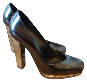 Saint Laurent Metallic Silver Pumps