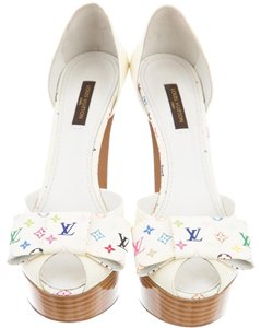 Louis Vuitton Patent Leather Peep Toe Lv Monogram Gold Hardware White Multicolor Pumps