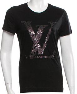Louis Vuitton Lv Logo Sequin Embellished Cotton T Shirt Black, Silver