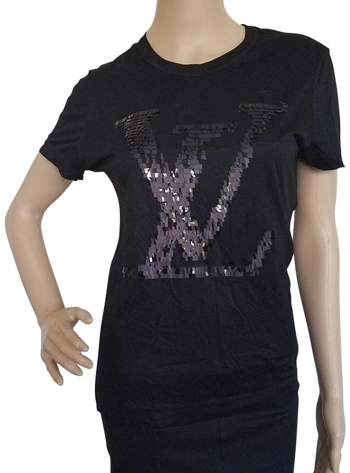 ac035f4f5 Louis Vuitton Black Silver Jersey Sequin Embellished Lv Logo Knit T ...
