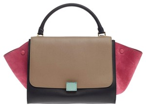 Céline Celine Leather Satchel in Black and Beige